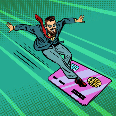 Businessman and Bank card. Extreme sports speed on the Board