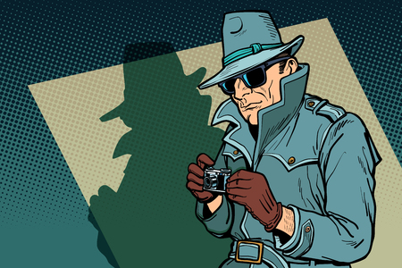 Detektivspion, Schatten. Comic-Cartoon-Pop-Art-Retro-Vektor-Illustration-Zeichnung