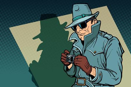 spia investigativa, ombra. Disegno di illustrazione vettoriale retrò di pop art fumetto comico