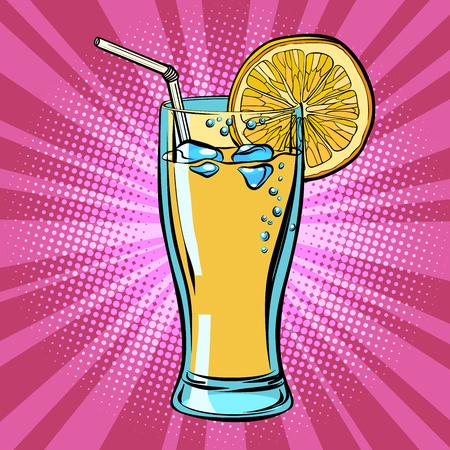 Succo di bevanda gialla Limonata al limone. Disegno di illustrazione vettoriale retrò di pop art fumetto comico Vettoriali