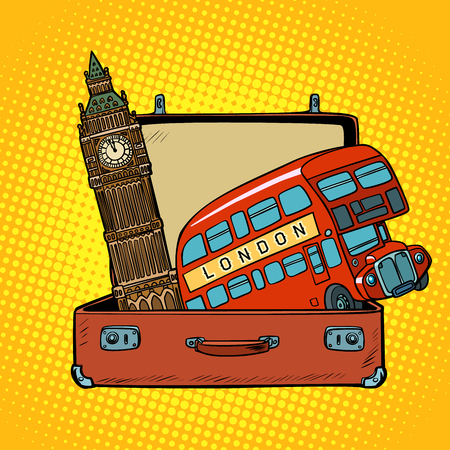 Travel to England concept. Suitcase with London sights