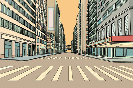 pedestrian crossing in the big city. Comic cartoon pop art retro vector illustration drawing Stock Vector - 105741796
