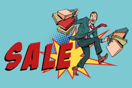Sale. Man with shopping bags. Comic cartoon pop art retro vector illustration drawing Illustration