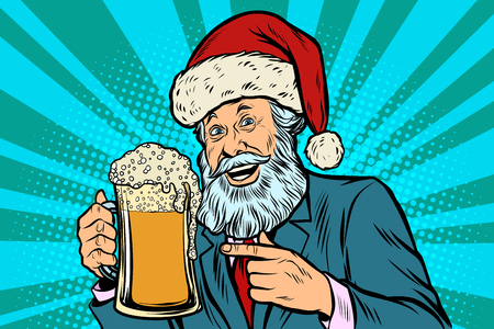 Old man in a Christmas cap with a mug of foam beer