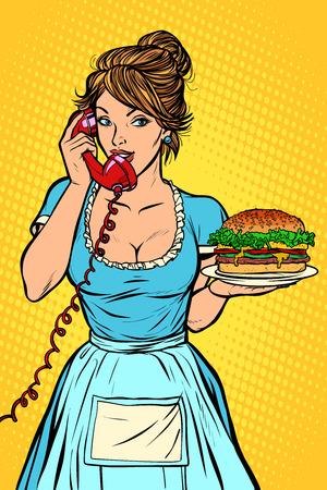 burger Delivery. Hotel service. Waitress Stock fotó