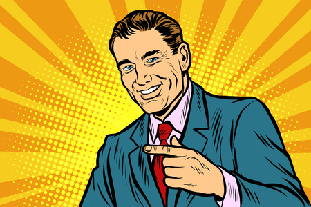 Man pointing finger. Comic cartoon pop art retro vector illustration drawing Ilustrace
