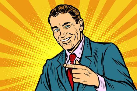 Man pointing finger. Comic cartoon pop art retro vector illustration drawing Illustration