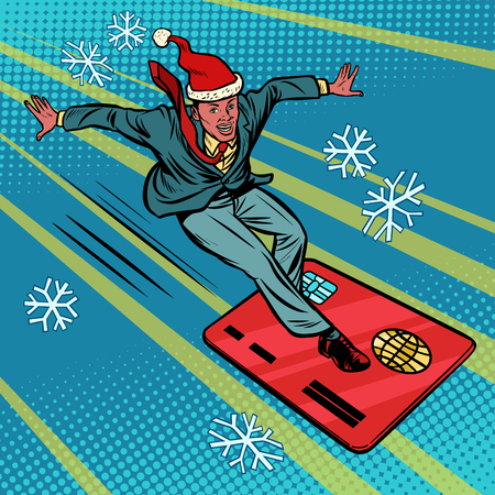 Christmas businessman and Bank card. Speed extreme sports Illustration