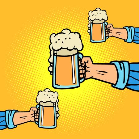 hands with beer mugs. Comic cartoon pop art retro vector illustration drawing Illustration