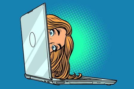 mujer que mira a escondidas de la computadora portátil. Dibujo de ilustración de vector retro de dibujos animados cómic pop art Ilustración de vector