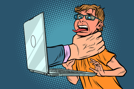 Internet censorship concept. Hand strangles computer user. Comic cartoon pop art retro vector illustration drawing Illustration