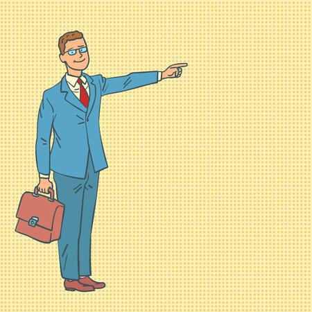 businessman points the way. Comic cartoon pop art retro vector illustration drawing