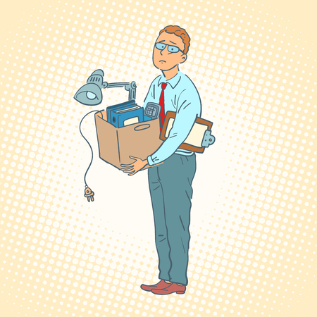businessman with box moving office. Comic cartoon pop art retro vector illustration drawing Illustration