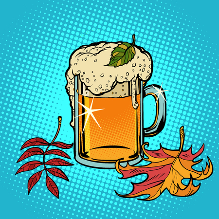 beer foamy Oktoberfest autumn. Comic cartoon pop art retro vector illustration drawing