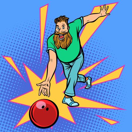 Mann wirft Bowlingkugel. Comic-Cartoon-Pop-Art-Retro-Vektor-Illustration-Zeichnung