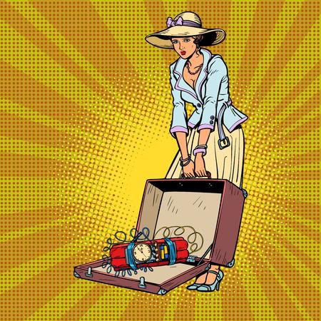 female terrorist. Bomb in baggage