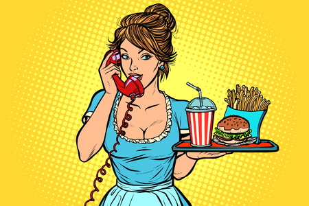 Delivery. Hotel service. Waitress. fast food on a tray. Comic cartoon pop art retro vector drawing  イラスト・ベクター素材