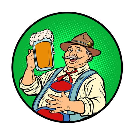 Oktoberfest Bavarian man with beer