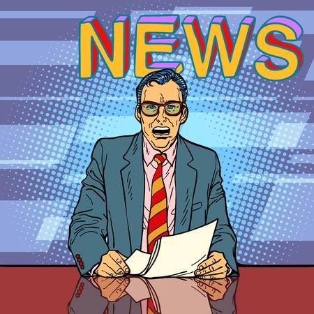 Male news anchor Stockfoto