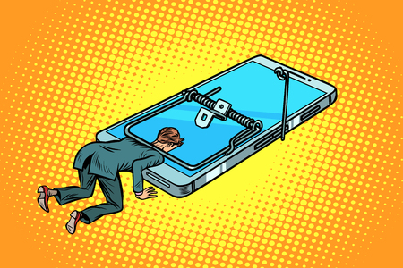 man trapped in a mousetrap smartphone phone. Comic cartoon pop art retro vector illustration