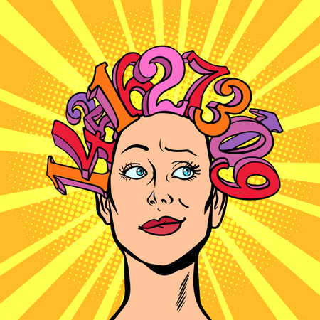 numbers, hair on head, the woman and mathematics conceptual. Comic cartoon pop art retro vector illustration