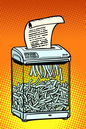 paper shredder, office appliance. secret information. Comic cartoon pop art retro vector illustration drawing