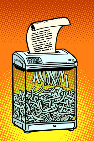 paper shredder, office appliance. secret information. Comic cartoon pop art retro vector illustration drawing