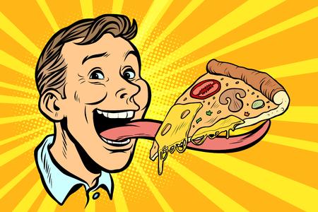Mann mit Pizza auf langer Zunge. Retro-Vektorillustration der Comic-Karikatur-Pop-Art