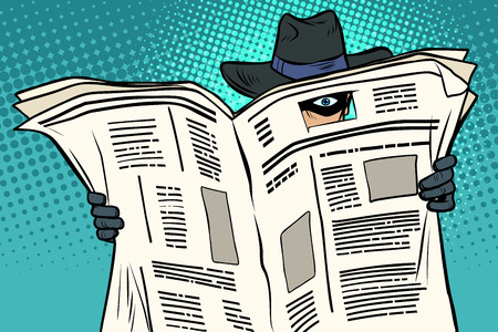 espía mira a través del periódico. Ilustración de vector retro de dibujos animados cómic pop art