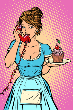 cupcake with cherry Delivery. Hotel service. Waitress. Comic cartoon pop art retro vector drawing Stok Fotoğraf