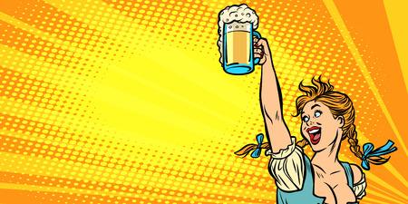 Cerveza Oktoberfest. Camarera en traje tradicional alemán. Dibujo de ilustración de vector retro de dibujos animados cómic pop art