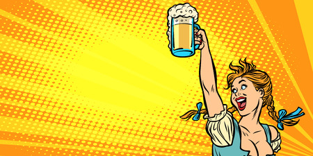 Oktoberfest bier. Vrouw serveerster in traditionele Duitse klederdracht. Strip cartoon popart retro vector illustratie tekening