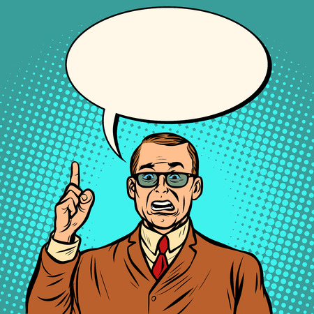 unhappy businessman. Business Finance. Comic cartoon pop art retro vector illustration drawing Illusztráció