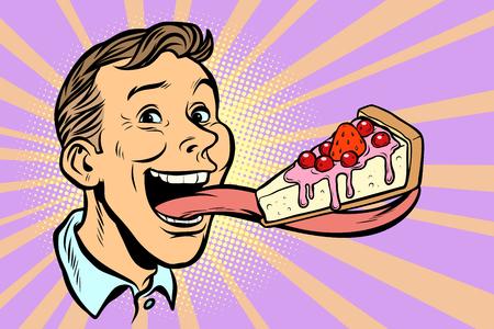 Mann mit einem Kuchen in einer langen Zunge. Retro-Vektorillustration der Comic-Cartoon-Pop-Art Vektorgrafik