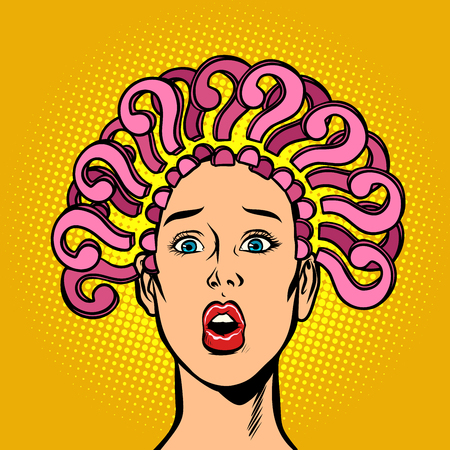 question mark, hair on the head, surprised woman. Comic cartoon pop art retro vector illustration