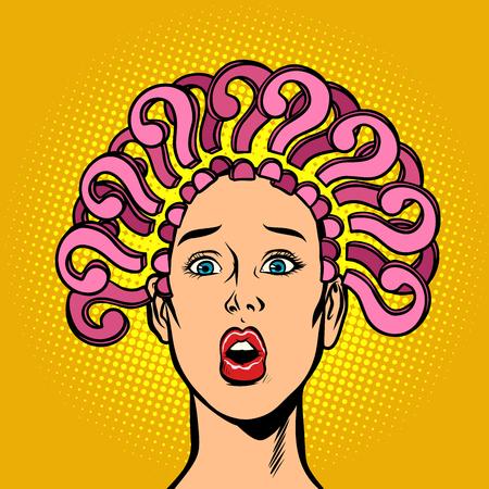 vraagteken, haar op het hoofd, verbaasde vrouw. Strip cartoon popart retro vectorillustratie