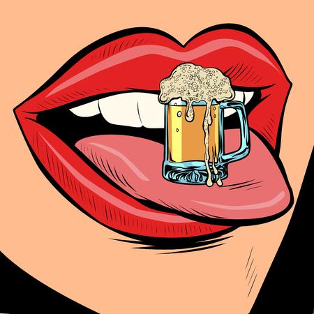 chope de bière mousse langue féminine bouche. Dessin animé comique pop art rétro dessin illustration vectorielle Vecteurs