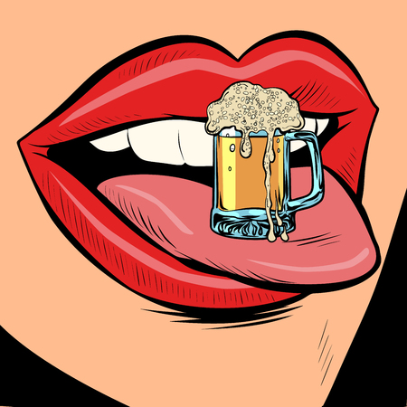 beer mug foam female tongue mouth. Comic cartoon pop art retro vector illustration drawing