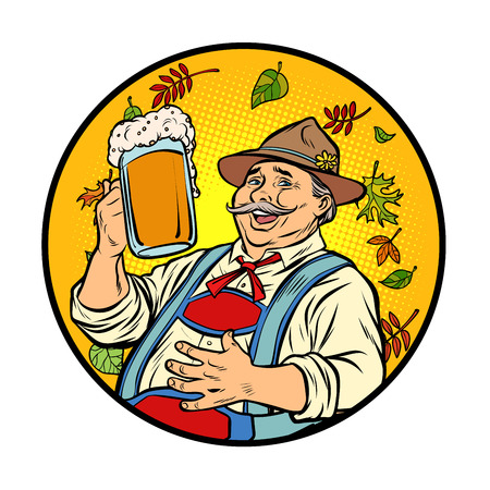 Oktoberfest old man with beer. Comic cartoon pop art retro vector illustration drawing