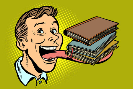 man with books in a long tongue. Comic cartoon pop art retro vector illustration