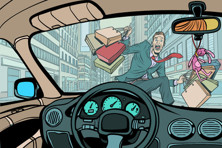 car knocks a pedestrian with purchases on sale. Comic cartoon pop art retro vector illustration drawing