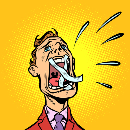 man screaming taped mouth. Comic cartoon pop art retro vector illustration Illustration