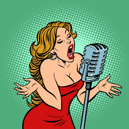 mujer cantante en el micrófono. Escena de conciertos de música. Ilustración de vector retro de dibujos animados cómic pop art