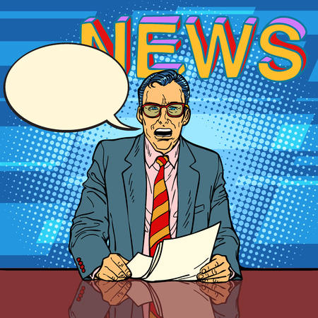 Male news anchor says comic book bubble. Comic cartoon pop art retro vector illustration drawing 矢量图像