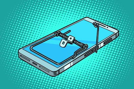 smartphone phone mousetrap. trap and dangers. Comic cartoon pop art retro vector illustration 스톡 콘텐츠 - 110027727