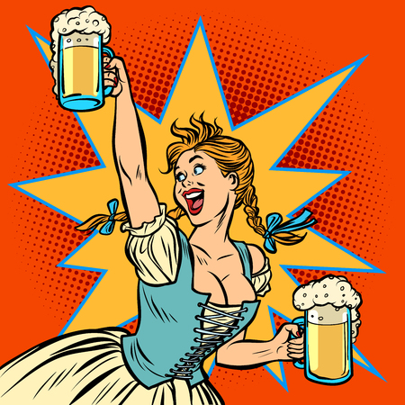 Oktoberfest beer. Woman waitress in traditional German costume. Comic cartoon pop art retro vector illustration drawing