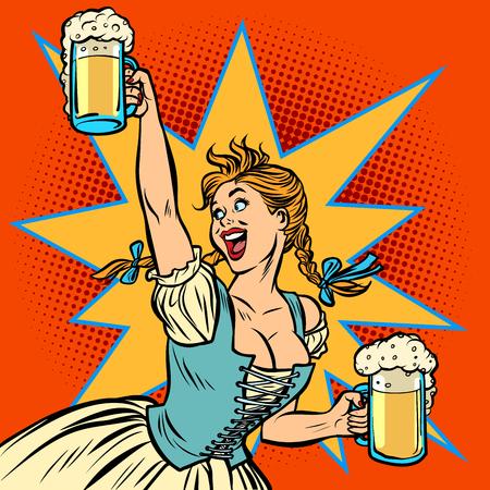 Oktoberfest bier. Vrouw serveerster in traditionele Duitse klederdracht. Strip cartoon popart retro vector illustratie tekening