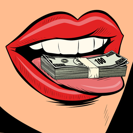 money dollars female tongue mouth. Comic cartoon pop art retro vector illustration drawing
