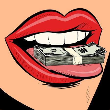 pieniądze dolary język usta kobiety. Komiks kreskówka pop-artu retro wektor ilustracja rysunek