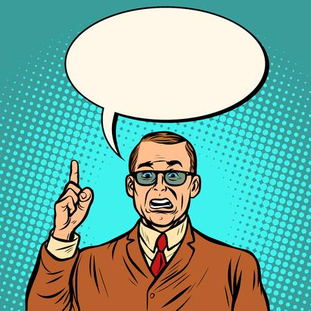 unhappy businessman. Business Finance. Comic cartoon pop art retro vector illustration drawing Фото со стока